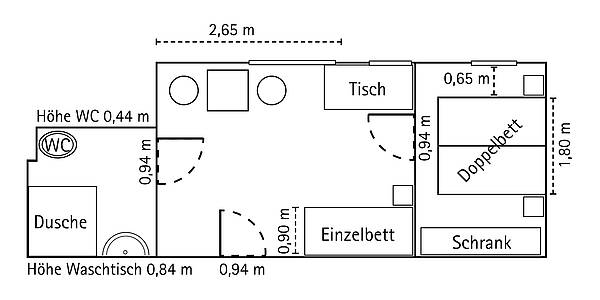 Floor plan of a barrier-free hotel room of Hotel Augustinenhof